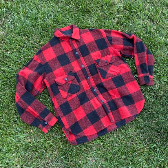 Vintage Jackets & Blazers - Red buffalo plaid wool button up jacket